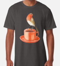 coffee loving robin bird Long T-Shirt