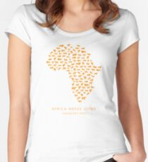 African Needs Lions (Orange)  Women's Fitted Scoop T-Shirt