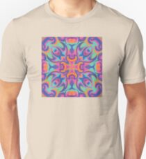 Trippy, psychedelic kaleidoscopic, retro colorful seamless pattern T-Shirt