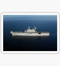 Amphibious Assault Ship USS Peleliu transits the Pacific Ocean. Sticker