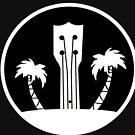 Ukelele und Palmen in Schwarz und Weiß von JCDesignsUK