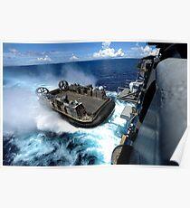 A landing craft air cushion enters the well deck of USS Bonhomme Richard. Poster