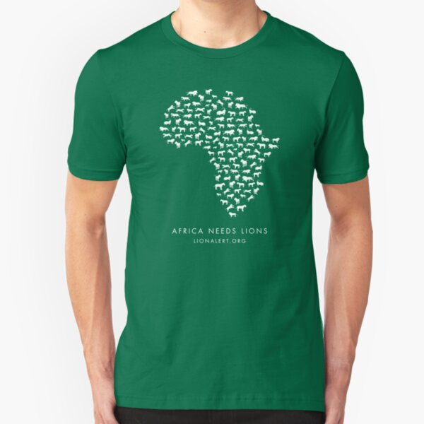Africa Needs Lions (White) Slim Fit T-Shirt