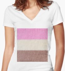 Knitted ice cream stripes Women's Fitted V-Neck T-Shirt