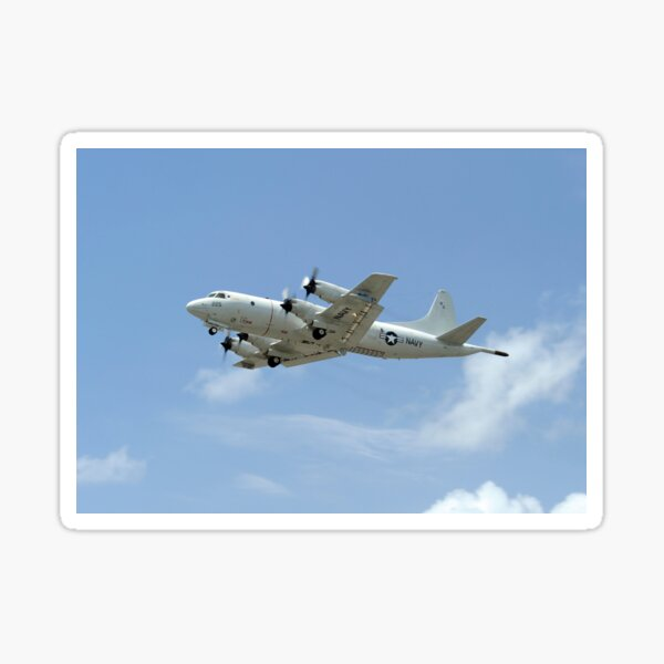 A P-3C Orion aircraft takes off from Marine Corps Base Hawaii. Sticker