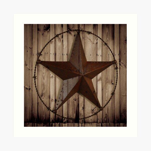 primitive western country barn wood grunge texas star  Art Print