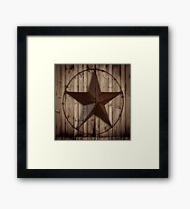 primitive western country barn wood grunge texas star  Framed Print