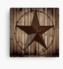 primitive western country barn wood grunge texas star  Canvas Print