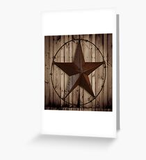 primitive western country barn wood grunge texas star  Greeting Card