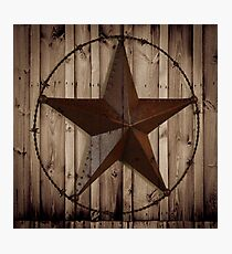 primitive western country barn wood grunge texas star  Photographic Print