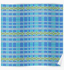 blue shade and white plaid with yellow diamond shape striped knitting pattern background Poster