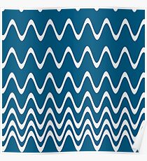 Navy Blue Waves Poster