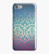 Beautiful art nouveau blue ornament on colorful background iPhone Case/Skin