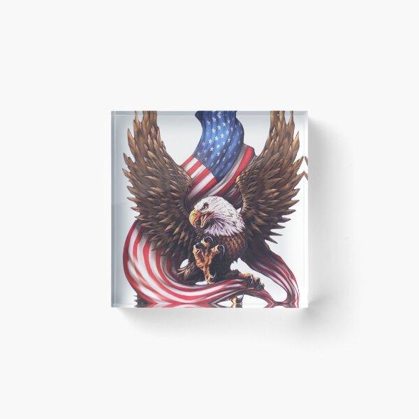 USA Flag Bald Eagle American Flag Acrylic Block
