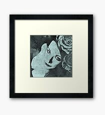 Sick On Sunday: Turquoise (woman with roses, graffiti) Framed Print