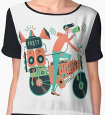 Party bike. Music and cycling Chiffon Top