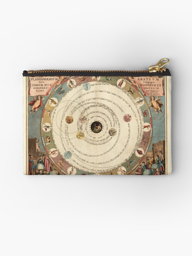 'Vintage Zodiac Circle with Horoscope' Zipper Pouch by rachelmanrm