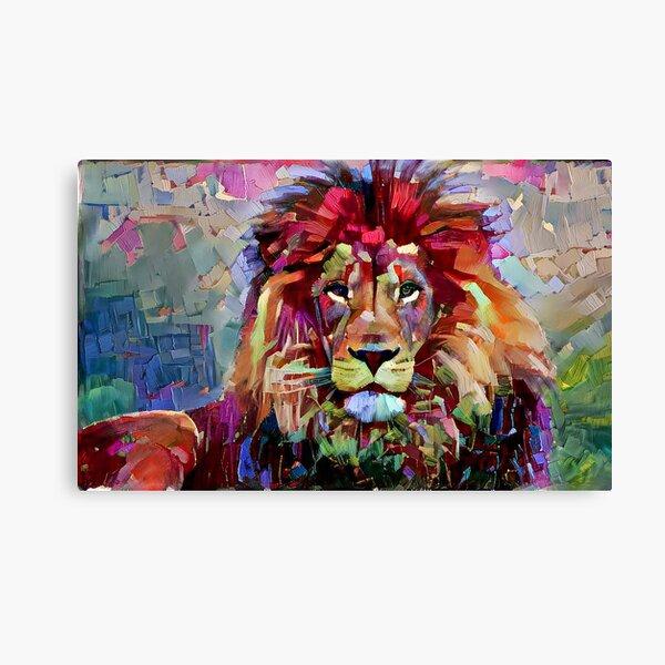Colorful Lion Painting Canvas Print