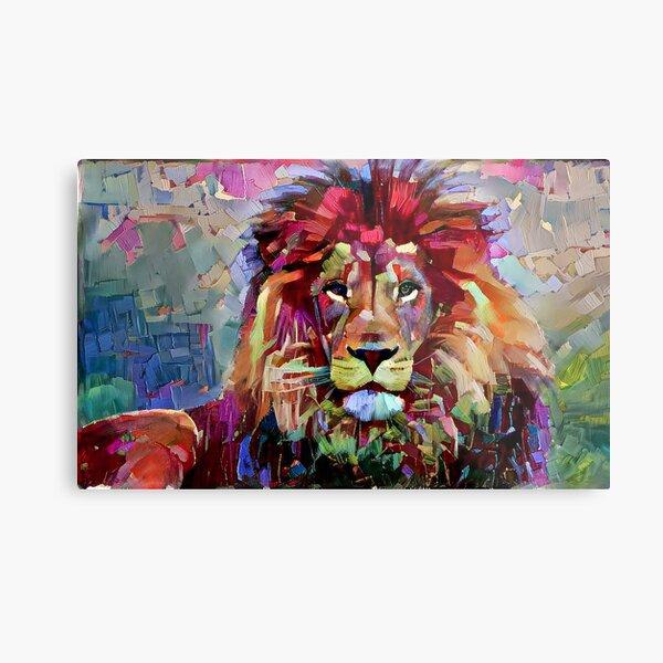 Colorful Lion Painting Metal Print