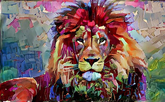 colorful lion painting photographic prints by erisian redbubble