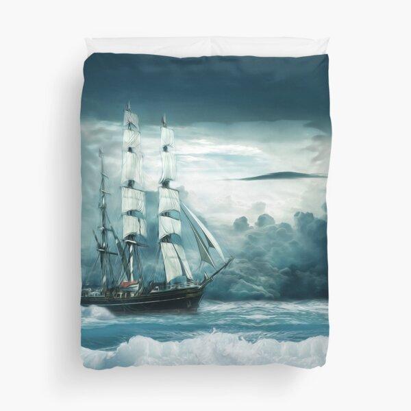 Blue Ocean Ship Storm Clouds Duvet Cover