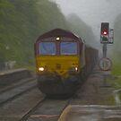Goods Train arriving at Hebden Bridge by Glen Allen