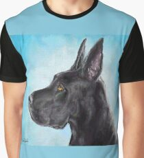 Painting of a Black Great Dane with Light Blue Background Graphic T-Shirt