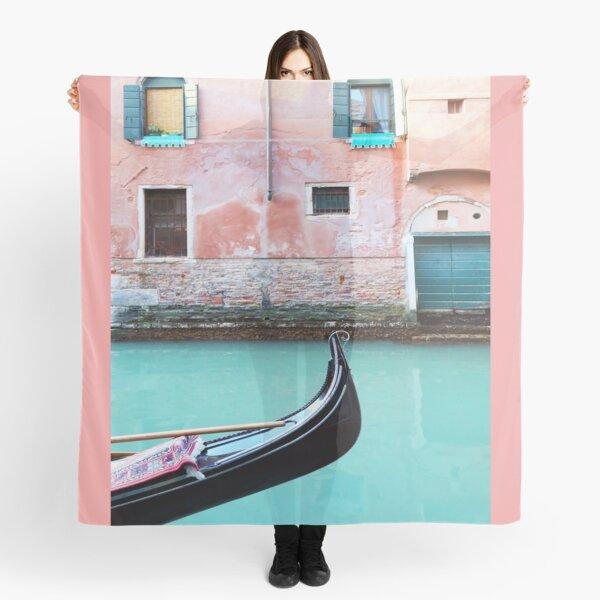 Venetian Gondola In Aqua And Coral Scarf