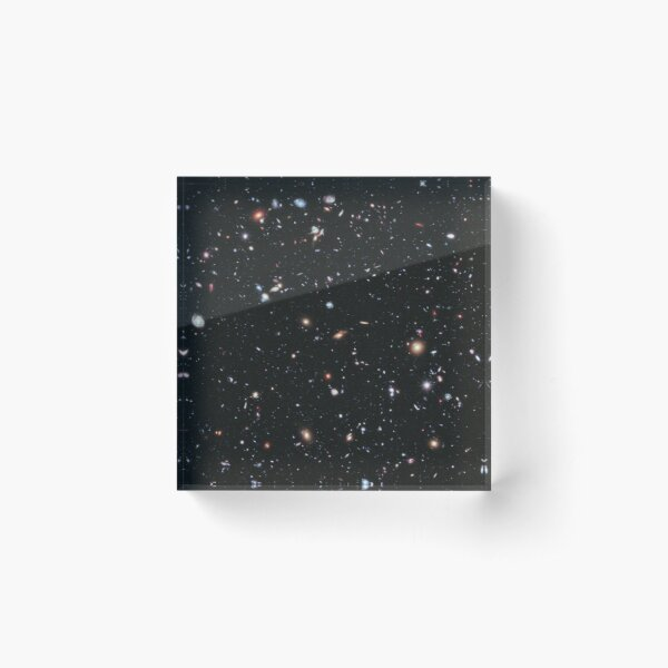 HUBBLE. Deep Space, astronomy, NASA, Extreme Deep Field image, Cosmos, Cosmic, Constellation, Fornax. Acrylic Block