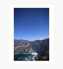 Star trails over Sliabh Liag Art Print