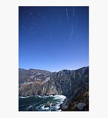 Star trails over Sliabh Liag Photographic Print
