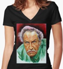 Vincent Price painting portrait Women's Fitted V-Neck T-Shirt