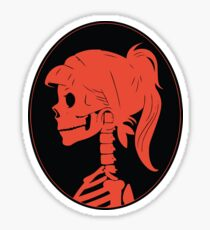 Orange, Skull ponytail profile logo Sticker