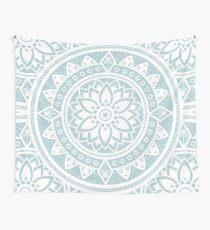 Duck Egg Blue & White Patterned Flower Mandala Wall Tapestry