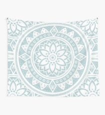 Duck Egg Blue & White Patterned Flower Mandala Wall Tapestry