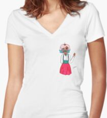masked  Women's Fitted V-Neck T-Shirt