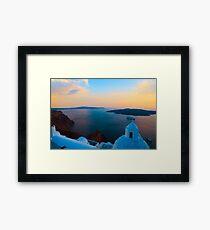 Sunset in Santorini i Framed Print