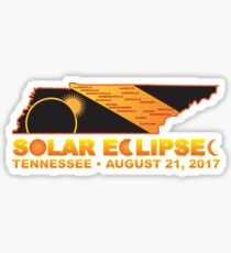 2017 Solar Eclipse Across Tennessee Cities Map Illustration Sticker