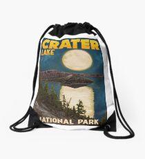 Crater Lake National Park Vintage Travel Decal - Night Scene Drawstring Bag