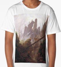 Casper David Friedrich Rocky Landscape in the Elbe Sandstone Mountains Long T-Shirt