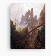 Casper David Friedrich Rocky Landscape in the Elbe Sandstone Mountains Canvas Print