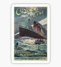 Vintage Travel Poster – The Cunard Line Sticker