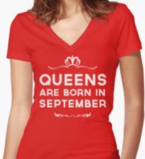 Queens Are Born In September Women's Fitted V-Neck T-Shirt