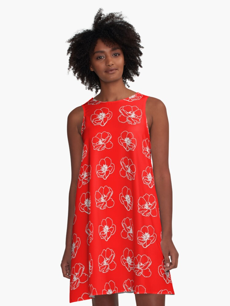 White Rose On Red. A-Line Dress Front