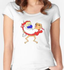 Modern Ren and Stimpy  Women's Fitted Scoop T-Shirt