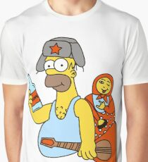 Russian Homer Simpson Graphic T-Shirt