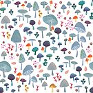 scattered mushroom pattern by tatjanamaiwyss