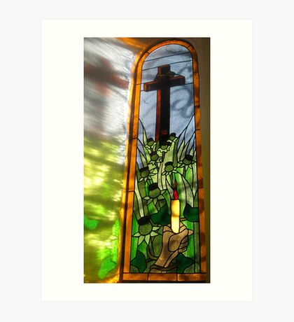 Stained Glass Window Reflection Kunstdruck