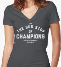 The Bus Stop of Champions - White Text Women's Fitted V-Neck T-Shirt
