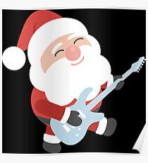 Santa Claus Playing Guitar  Poster